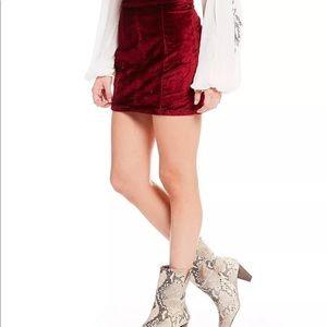 NWT Free People Retro Red Velvet Mini skirt